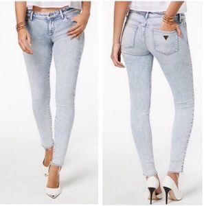 Guess Acid Wash Raw Hem Skinny Jeans